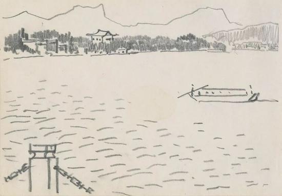西湖系列之二 1984年 纸本铅笔 15×21cm