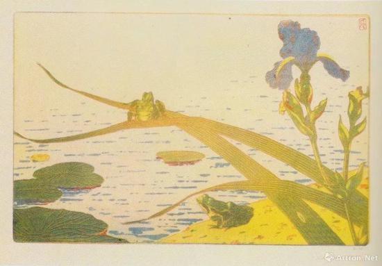 "Charles-Louis Houdard, Frogs ( from ""L'Estampe originale"", Album VIII ), 1894, three-coloraquavit on paper, 26.1 x 40cm, Mitsubishi Ichigokan Museum, Tokyo, p.168"