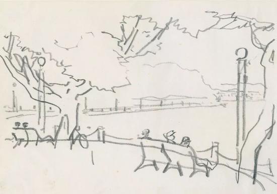 西湖系列一 1984年 纸本铅笔 15×21.3cm