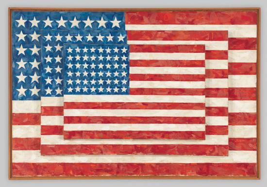 贾斯培·琼斯,《三面旗帜》(Three Flags ),1958。图片: ? Jasper Johns / Licensed by VAGA, New York, NY