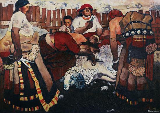 《剪羊毛》是周春芽早期为数不多的精品之一,也是其首件破千万成交的作品,目前藏于龙美术馆