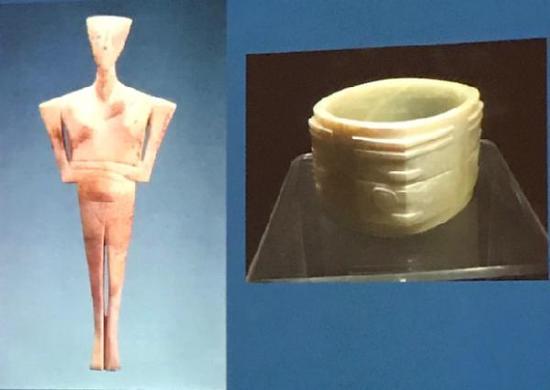 左为出土自基克拉迪群岛的交叉双臂的雕像,右为良渚文化的玉琮