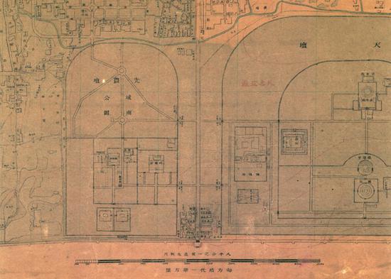 图6 《京都市内外城地图》中宣武门外先农坛附近的城南游艺园方位