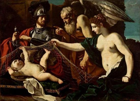 Guercino  Chronos Admonishes Eros, in the presence of Aphrodite and MarsFrancis