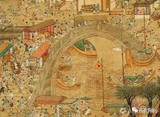 清院本《清明上河图》中船舶顺利通过虹桥的情景(图7)