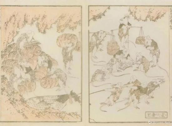 """葛饰北斎""""北斎漫画""""十编、1819、墨摺、淡彩摺、22.9 x15.8cm、浦上苍穹堂、p。 137"""