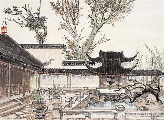 张仃《苏州庭园》 34cm×46cm 20世纪50年代 纸本水墨设色