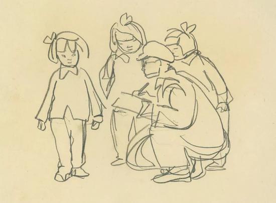 三个小姑娘和画家 1958年 纸本铅笔 17.4×23.7cm