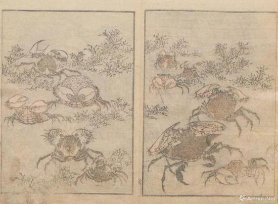 """葛饰北斎""""北斎画式""""、1819、墨摺、26.1 x18.5cm、浦上苍穹堂、p.153"""