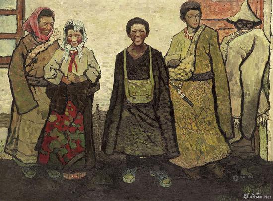 """周春芽26岁时即凭借《藏族新一代》获得""""第二届全国青年美展""""二等奖,这件作品在2013年佳士得拍卖以2605万元成交"""