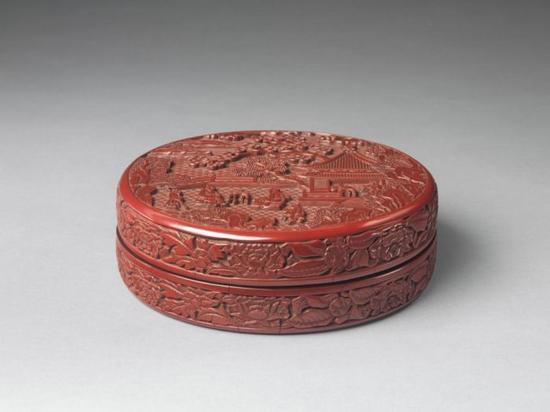 明永乐 剔红庭院高士图漆盒