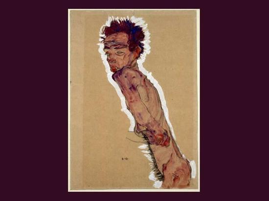 裸体自画像(1910年),席勒