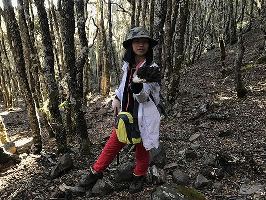 10月17日下午5点多,李雅不甘心,在下山途中边走边找陨石。