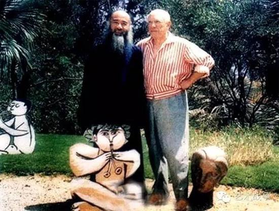 """(毕加索对张大千说,""""在欧美,我看不到艺术,在中国,才有真正的艺术。"""")"""