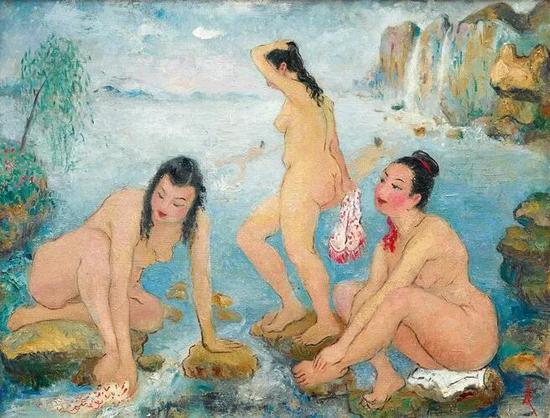 潘玉良《海边五裸女》 油画画布,约1958年作,50x66公分 估价:6,000,000至10,000,000港元