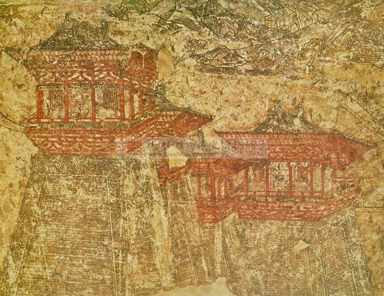 懿德太子墓壁画《阙楼仪仗图》