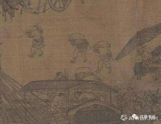 宋本《清明上河图》中的监工与搬运工,手中的竹签是计件发酬的凭证(图16)