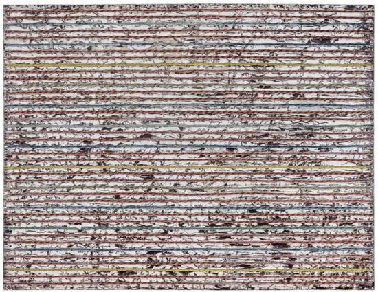 马克-布匹弹奏道德福道德 (1961年生)   《跑退猎枪的熊》   混合媒材 合并贴 画布匹   213.4 x 274.3 cm。   2014年干   估价:英镑 2,200,000 - 2,800,000
