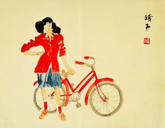 扶车的红衣女孩 约20世纪40年代末 纸本彩墨 45×33cm