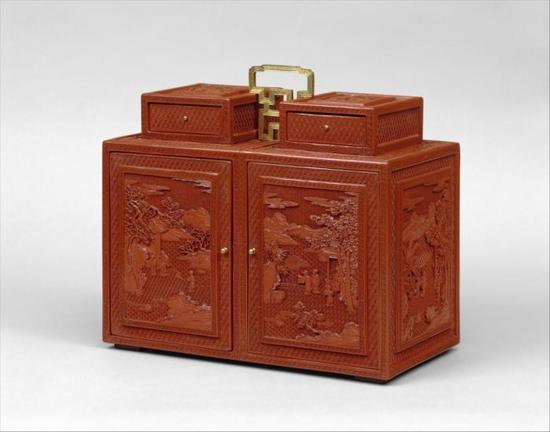 清乾隆 剔红山水人物纹漆箱