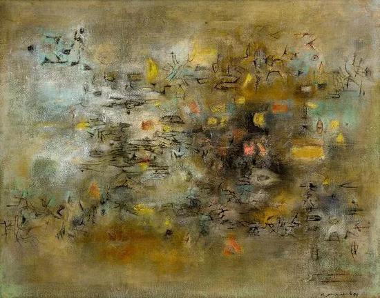 赵无极《晴空万里》 油画画布,1955年作,73x92公分 估价:15,000,000至25,000,000港元