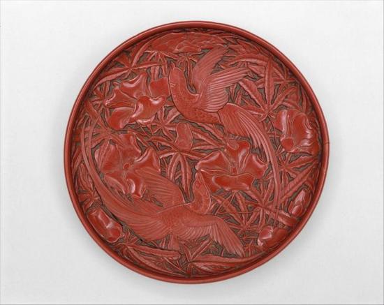 元 剔红绶带秋葵纹漆盘