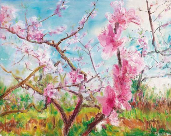 周春芽早期的《桃花系列》,2013年在香港苏富比以364万港元成交,2017于佳士得再度上拍取得970万港元