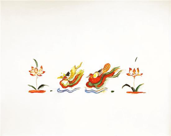 梅一作品:《鸳鸯戏水》200cm×160cm