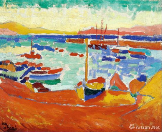 安德烈·德兰《科里乌尔的船只》38.4x46cm 布面油画 1905年 成交价:1087.65万英镑(折合9563.4万元人民币)
