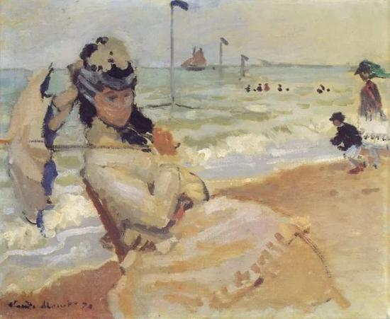《坐在特鲁维尔沙滩上的卡美伊》