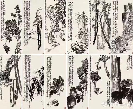 吴昌硕《花卉十二屏》成交价:2.093亿元 北京保利 2017-12-17
