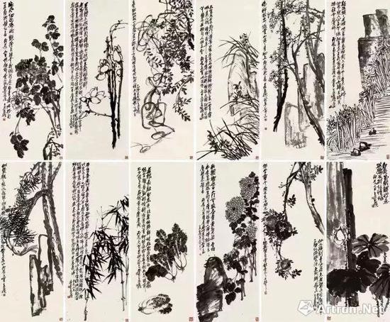 吴昌硕 《花卉十二屏》 2.093亿  北京保利2017年秋拍