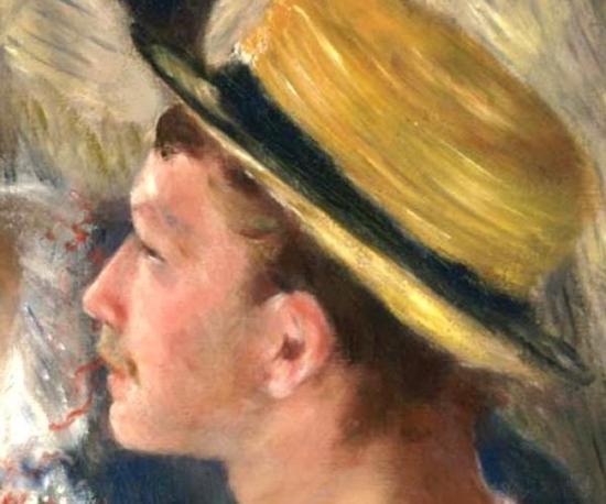 画家卡耶博特,《船上的午宴》(局部)