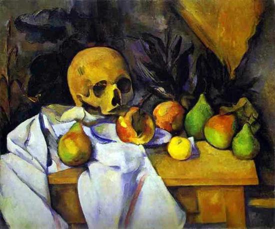 保罗?塞尚《静物与头骨》。图/取自Wikipedia。