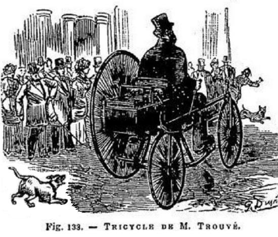 ▲1881年,古斯塔夫·特鲁夫(Gustave Trouvé)和他的电动三轮车