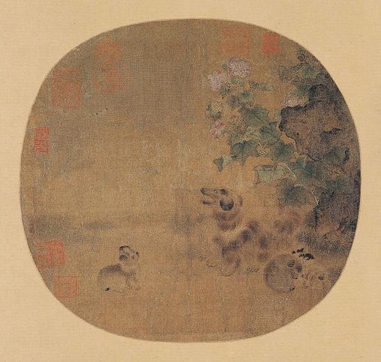 宋 无款 《秋庭乳犬图》绢本设色 上海博物馆