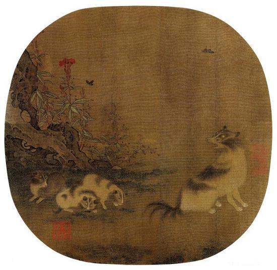 南宋 佚名 《鸡冠乳犬图 》绢本设色 河北省博物馆藏