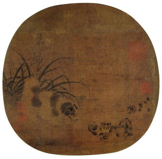 南宋 佚名 《萱花乳犬图 》绢本设色 河北省博物馆藏