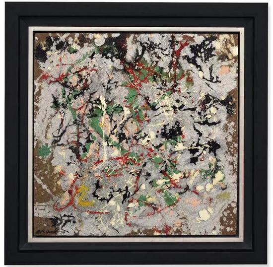 杰克森-波洛克 (1912-1956)   《编号21,1950》   油彩 铝性颜料 纤维板   56.5 x 56.5 cm。   1950年干   估价:英镑 10,000,000 -15,000,000