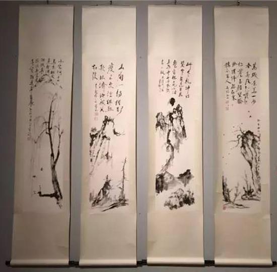 饶宗颐《日僧禅偈山水四条屏》,2005年