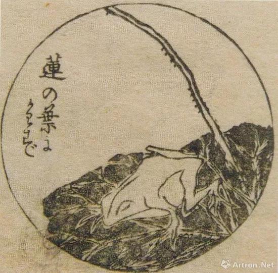 """葛饰为斎""""花鸟山水画式""""五编、1865、墨摺、12.1 x 18.1cm、个人蔵、p。 142"""