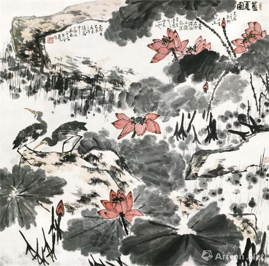 李苦禅《盛夏图》202.5cm×203cm 纸本水墨设色 1979年