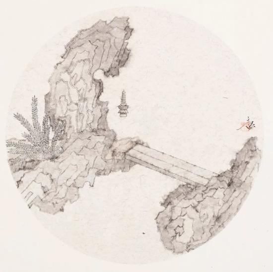 姚永强 绿池素景(纸本水墨)33×33cm·2018年