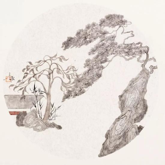 姚永强 春风一夜(纸本水墨)33×33cm·2018年