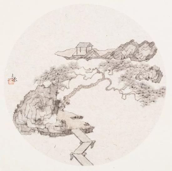 姚永强 衔山抱水(纸本水墨)33×33cm·2018年