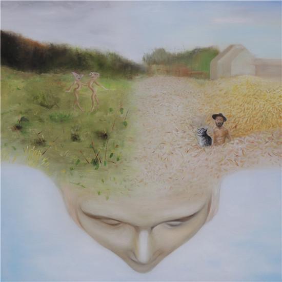 赵坦,油画,《脑中》,100cmx100cm,2017