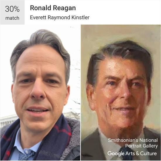 谷歌的人脸识别艺术应用将杰克-泰普尔(Jake Tapper) 与一幅罗纳德-里根的肖像画匹配。图片:Courtesy of Jake Tapper via Twitter