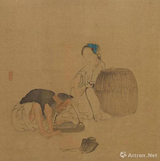 《人物图册》之《渔翁渔妇图》 天津博物馆藏