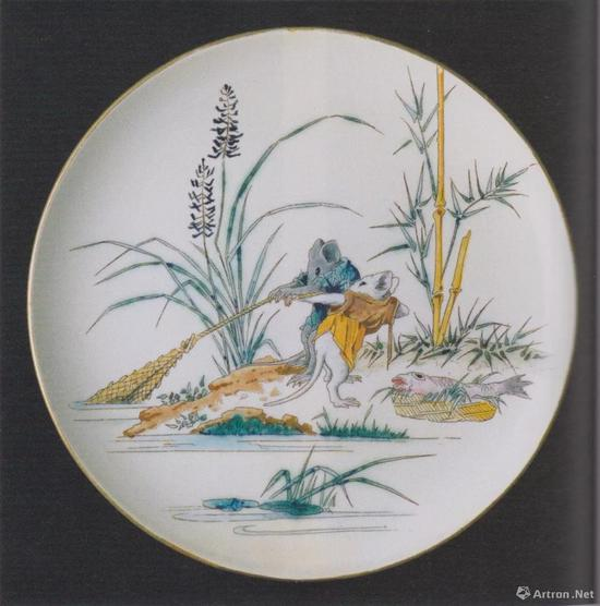 "Manufacture Jules Vieillard & Cie, Plate with Mice Fishing, from the Service ""Souris"", c。 1870, faience, dim。 22.7cm,The National Museum of Western Art, Tokyo, p。 136"