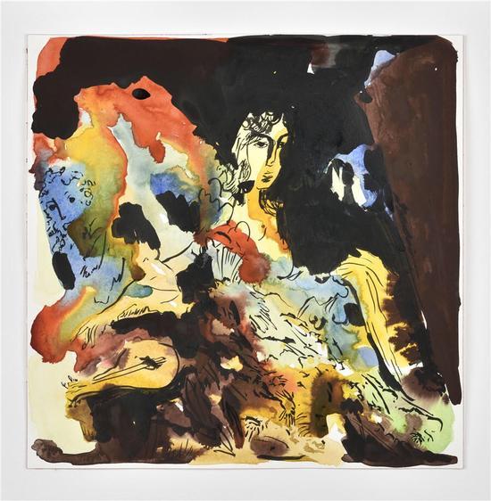 杰思敏·莉特,《无题》,纸上水彩,30 x 30 cm,2017